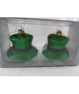 "IRISH Leprechaun hats KURT S ADLER QUALITY ORNAMENT Green 2"" TOP HATs NE... - $19.79"