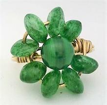 Malachite Emerald Gemstone Bead Gold Wire Wrap Ring sz 6 - $10.08