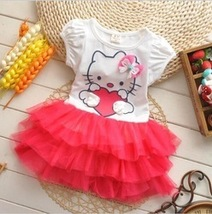 HELLO KITTY Pretty Dress for Girls AGE 3-4 COLOR RED, FREE SHIPPING - $29.99
