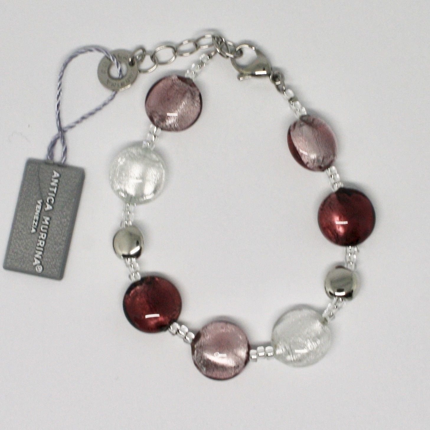 ANTICA MURRINA VENEZIA BRACELET WITH MURANO GLASS PINK WHITE PURPLE BR297A05