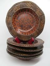 Earnest Hemingway Collection Kenya Brown Basket weave Rimmed Soup Bowls 5 - $85.26