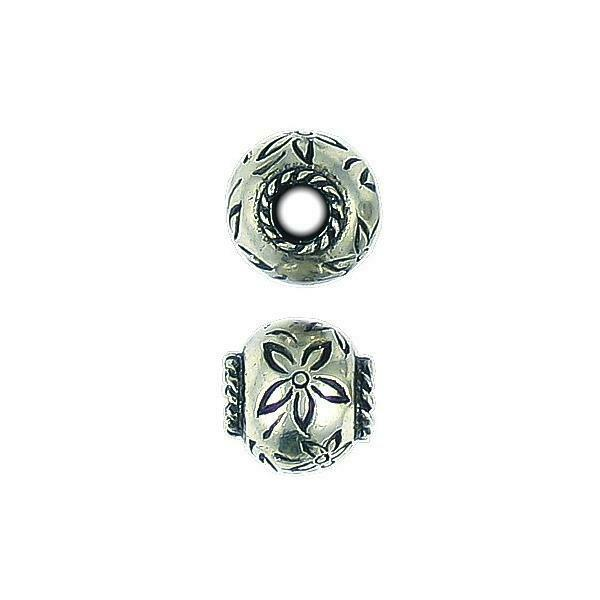 FLOWER BEAD WITH BIG HOLE FINE PEWTER PENDANT BEAD - 12x12x13mm