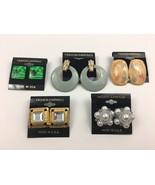 Vintage Mixed Earrings Lot NOS Enamel Swirl Faux Pearl Cluster Dangle Pi... - $11.83