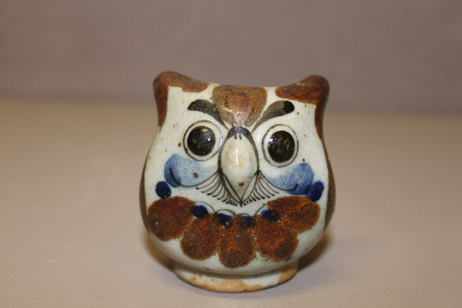 Hand Painted Owl Figurine Decorative,  Brown and Blue in Color (New)