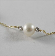 18K YELLO GOLD NECKLACE WITH ROUND WHITE 6 7 mm FRESHWATER PEARLS MADE IN ITALY  image 2