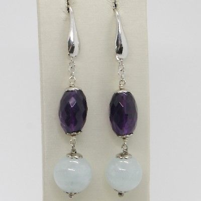 925 STERLING SILVER PENDANT EARRINGS WITH BIG AQUAMARINE 13 MM AND OVAL AMETHYST