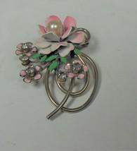 Vintage Pink Enamel Faux Pearl & Rhinestone Flora Pin Brooch - $14.84