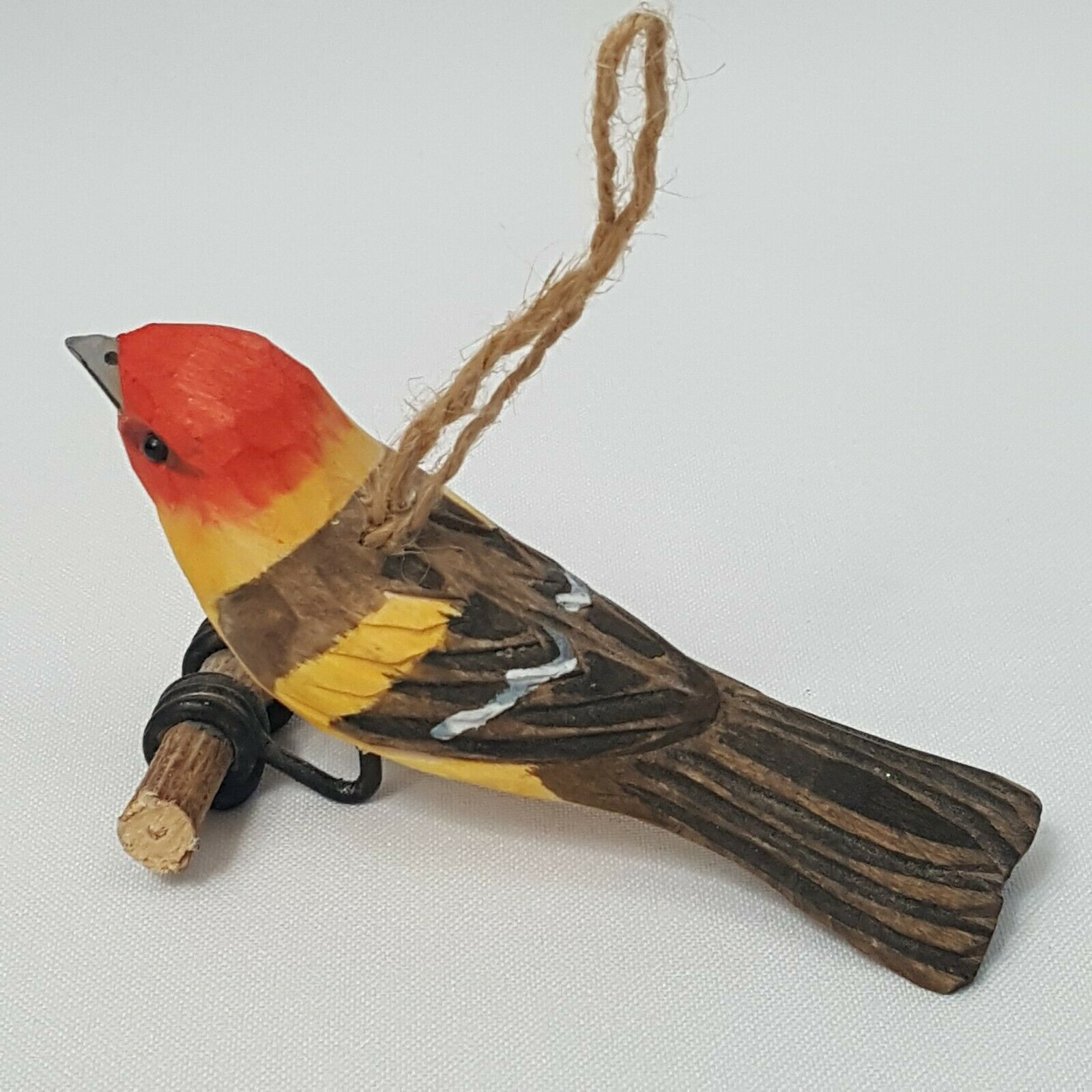 Carved Wood Bird Western Tanager Hanging Ornament Red Head Yellow Body Perched image 4