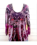 One World Purple Rain Boho Pleated Ladies Women's Tunic Top Blouse Small... - $30.00
