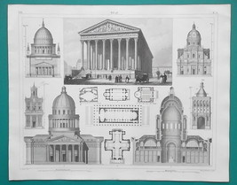 ARCHITECTURE Baroque France Italy Paris Palermo Potsdam - 1844 Superb Print - $19.80