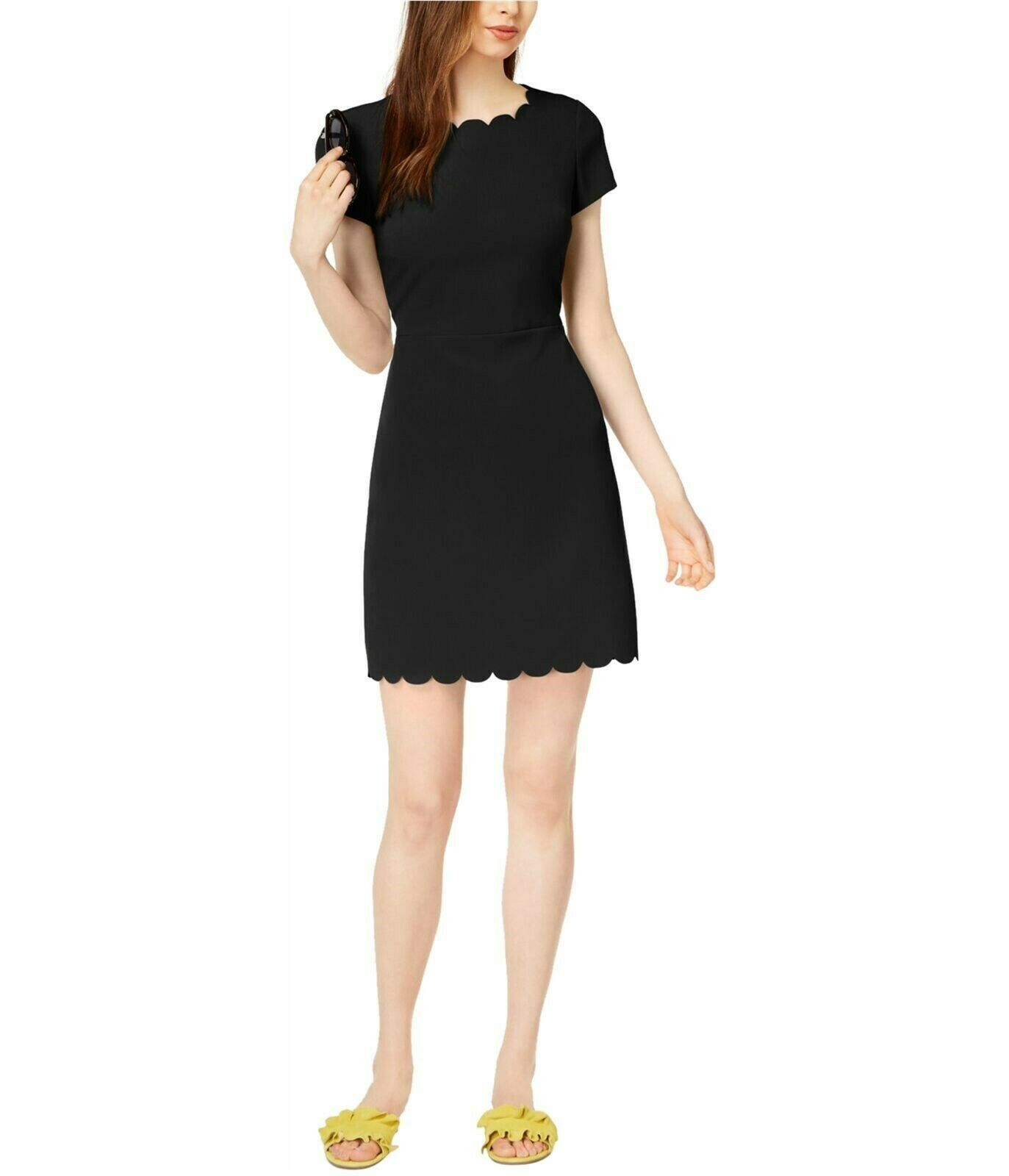 Primary image for Maison Jules Womens Scalloped Fit & Flare Dress Black Size 10 $89.50 NWT