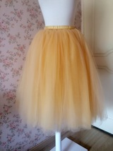 6 Layered Tulle Tutu Skirt Puffy Ballerina Tulle Skirt Apricot Plus Size image 2