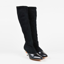 Givenchy NIB Black Suede Cut Out Enamel Heel Over The Knee Boots SZ 37 - $1,210.00