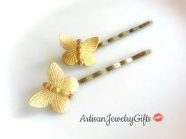 Gold Butterfly Bobby Pins Set Gold Butterfly Hair Clips Bohemian Hair Cl... - €28,41 EUR