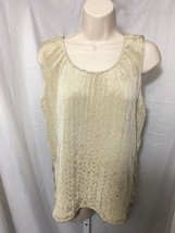 #385-- JM Collection crinkle fabric beige sleveless blouse top, size L  - $7.30