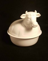 Collectible Fitz Floyd White Ceramic Bowl Cow Lid Butter or Candy Dish 4... - $9.95