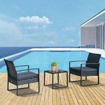 Black Modern Conversation Set 2 Seater Outdoor Patio Garden Bistro Table... - £154.41 GBP