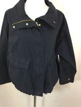 Michael Kors Women Coat Jacket Navy Blue 100% Cotton Large L New - $59.60