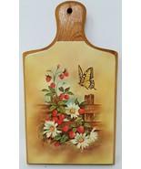 Butterfly Strawberry Daisy Wood Cutting Board Keg Crate Barrel - $16.82