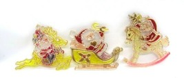 Christmas Plastic Suncatcher Painted Ornaments Set of 3 Made in Hong Kon... - $7.05