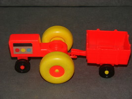 Fisher Price Little People: Red Farm Tractor + Red Cart - $12.00