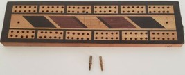 Cribbage Board Rustic Wooden With Two Metal Rivet Pegs Made in Japan Vin... - $12.99