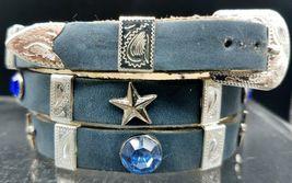 New Blue Hatband Leather W Blue Crystals + Star Conchos Dallas Cowboys Hat Band - $30.42