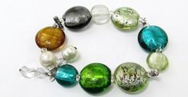Silpada  Sterling Silver Foiled Glass Bead Multicolored Stretch Bracelet... - $39.60