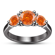 Round Cut Orange Sapphire Three Stone Wedding Ring 14k Black Gold FN 925... - $81.99