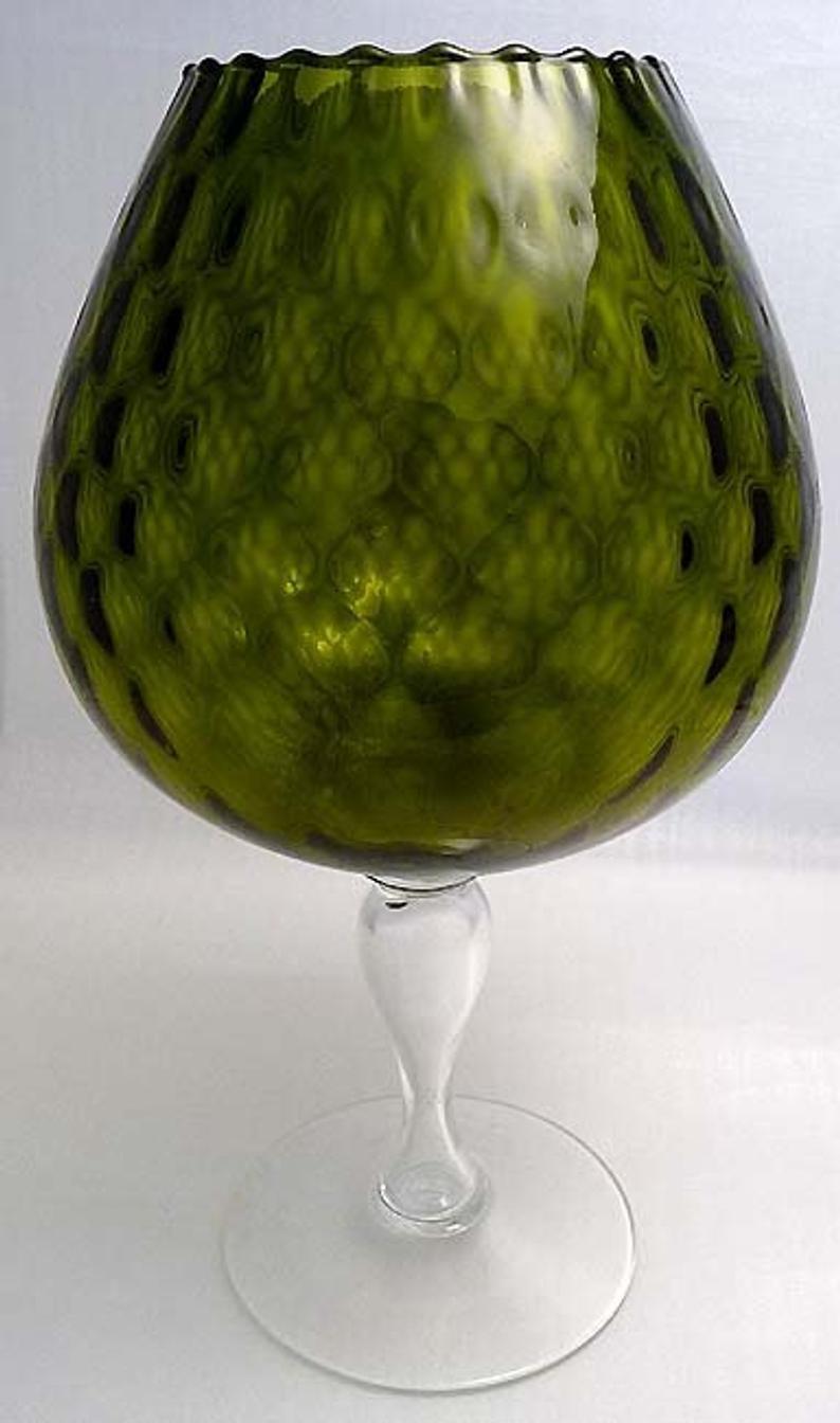 FENTON XLARGE Olive DIAMOND OPTIC Brandy Snifter Vase 1950s Mid Century Mod image 9