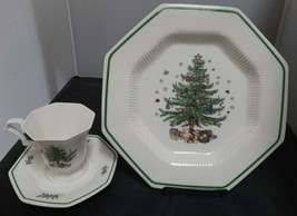 "Nikko ""Christmastime"" 10 3/4"" Dinner Plate & Footed Cup/Saucer Set - $14.52"