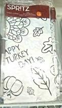 Spritz Table Cover Happy Turkey Day 54x84 in White Black  Fun Festive image 1