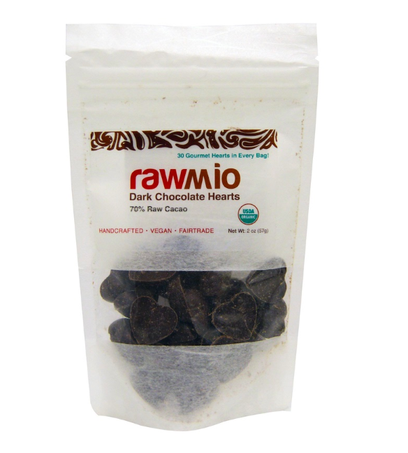 Keto candy: Rawmio Dark Chocolate Hearts, 2 oz 2 ct (9 net carbs)