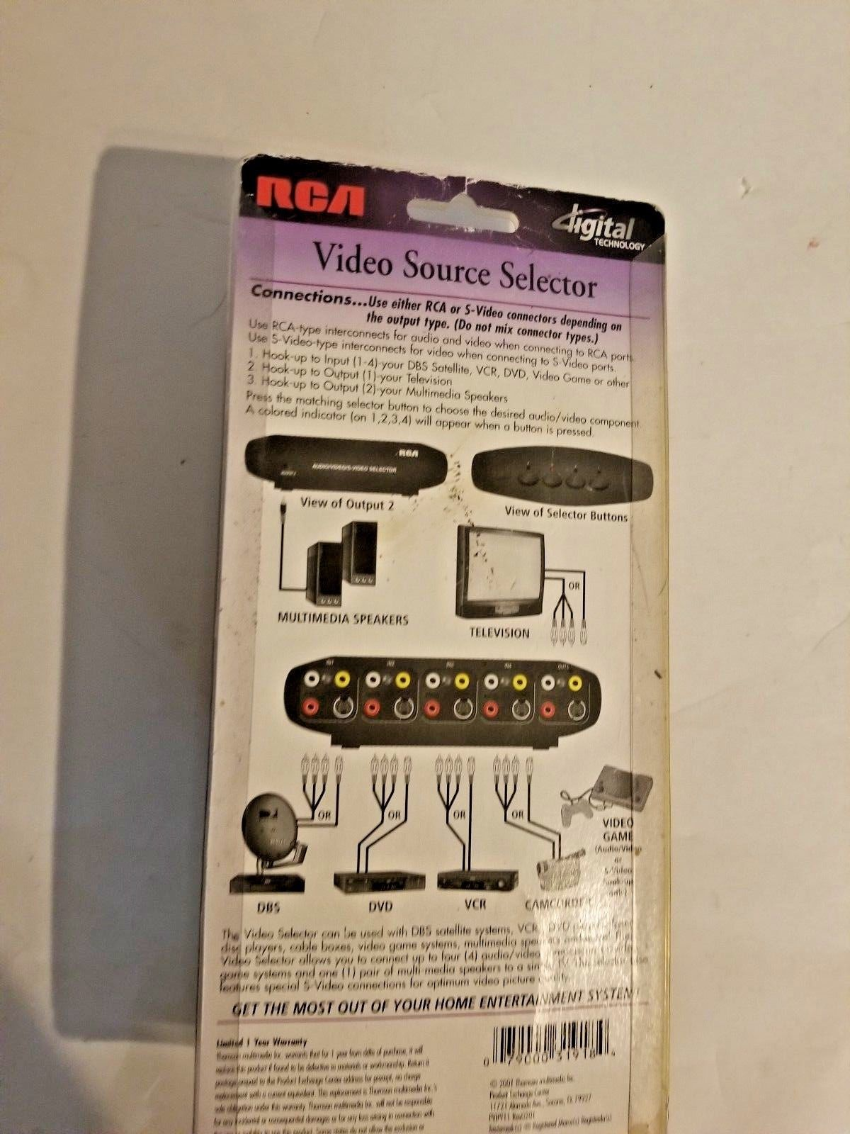 Video Source Selector RCA New Digital Technology VH911