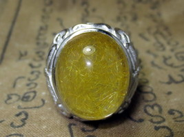 Nice Magic Blessed Mai-Thong Stone Silver Ring Luck Charming Thai Buddha Amulets - $19.99