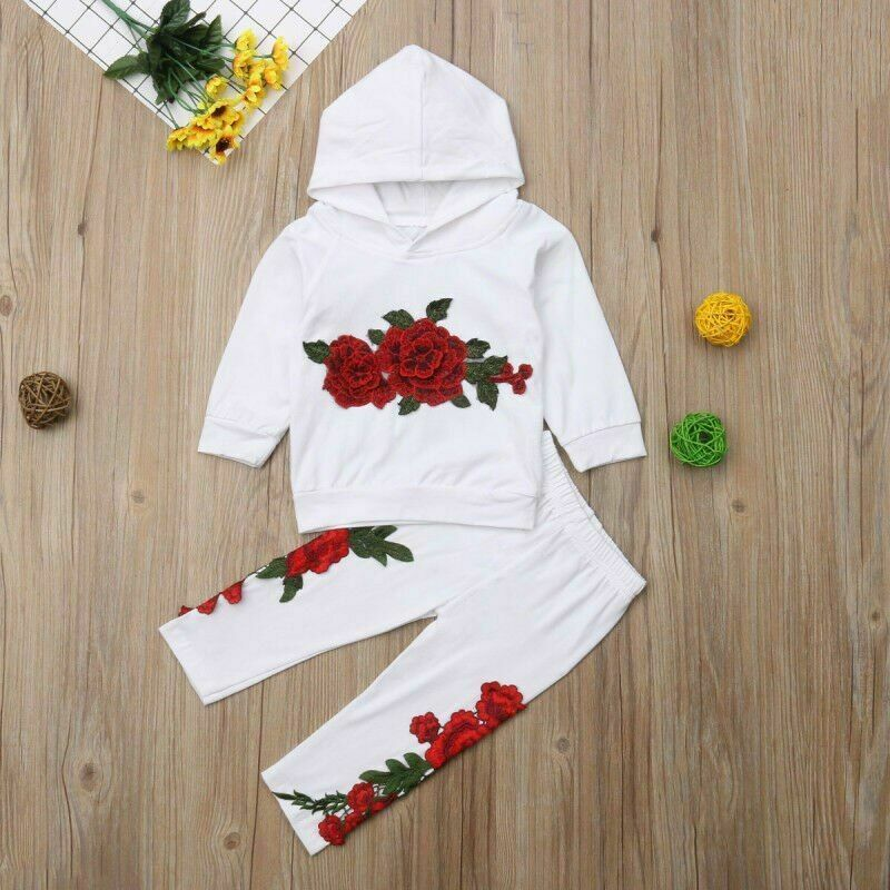 Fashion Toddler Baby Girl Floral Hooded Top Long Pants Outfits Clothes Tracksuit image 4