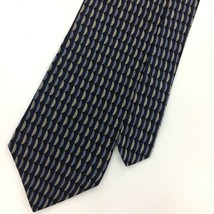KENNETH COLE USA TIE GEOMETRIC Waves NAVY BLUE Silk Necktie Gray Ties I14-419 image 2