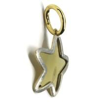 18K YELLOW WHITE GOLD STAR PENDANT 14mm DIAMETER, FLAT SOLID, SMOOTH & SATIN image 2