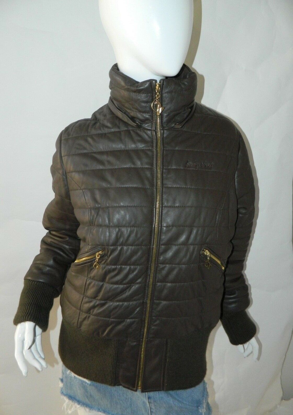 BABY PHAT Jacket Puffer Leather Kimora Lee Simmons Brown Coat XX-Large image 6