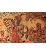 19th century original Mahabharata scene lord Krishna hand painted on lea... - $419.82