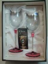 "Opera Italia Franco 2 Wine Glasses Rhinestones Jewel Red Stems 9"" tall N... - $30.00"