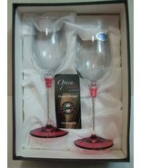 "Opera Italia Franco 2 Wine Glasses Rhinestones Jewel Red Stems 9"" tall N... - $30.00"
