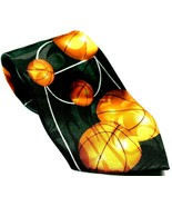 Basketball Court Sport Black Orange Men's Necktie Novelty - $15.00