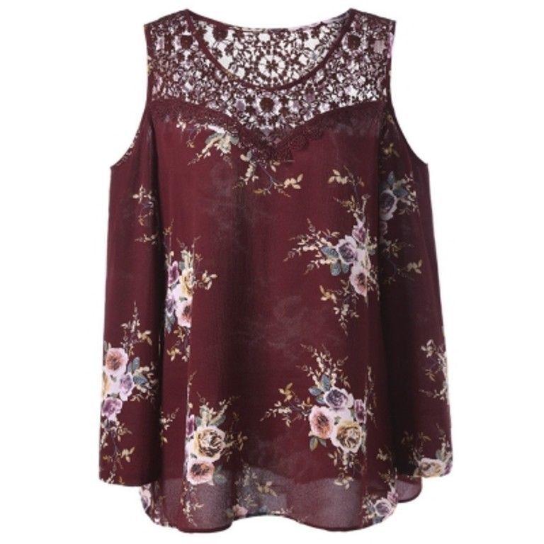 Plus Size Lace Panel Cold Shoulder Floral Blouse