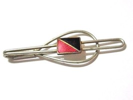 BLACK AND RED ENAMEL ART DECO TIE CLIP VINTAGE SILVER PLATED - $22.00