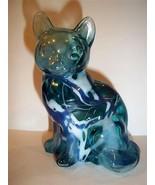 Fenton Glass Fetty TURQUOISE COBALT WHITE RANDOM THREADS HOLLOW BLOWN CA... - $174.12