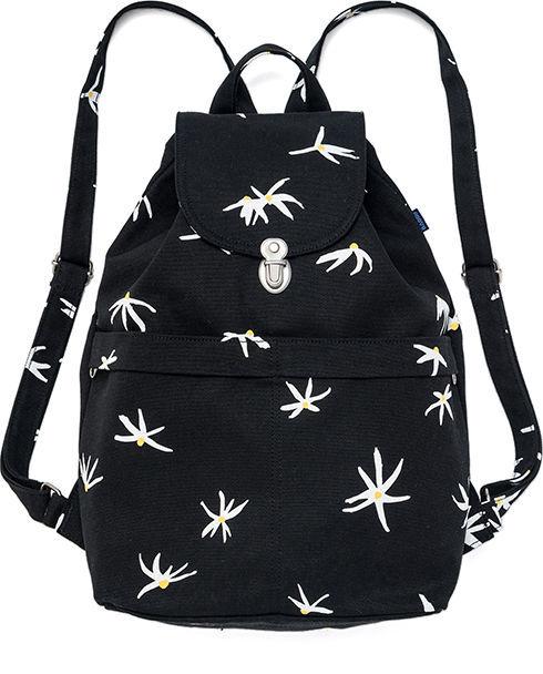 Baggu Recycled Canvas Drawstring Flap Black Floral Sack Backpack