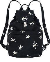 Baggu Recycled Canvas Drawstring Flap Black Floral Sack Backpack  image 1