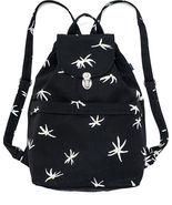 Baggu Recycled Canvas Drawstring Flap Black Floral Sack Backpack  - $16.00