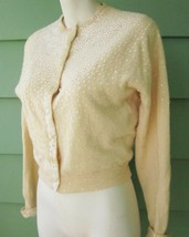 1950's Vintage Pinup Sweater Wool Blend Full Fashioned Sequins Women's L... - $14.24